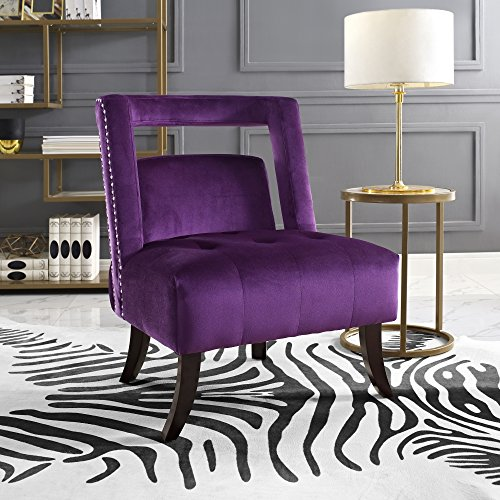 Salvador Plum Velvet Accent Chair - Armless Slipper | Button Tufted | Nailhead | Inspired Home (Plum Chair Accent)