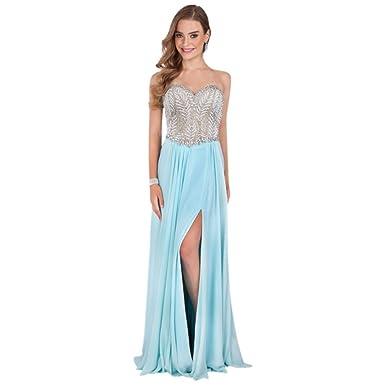 David\'s Bridal Crystal-Bodice and Mesh Corset-Back Prom Dress Style ...