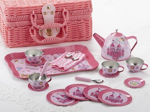 Delton Tin 19 Pcs Tea Set in Basket, ()