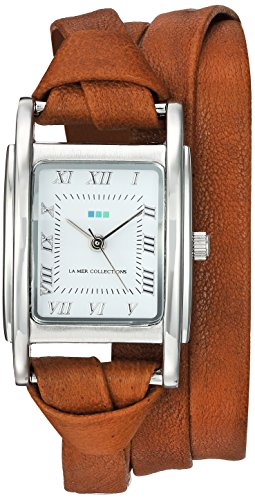Collection Brown Leather Watch (La Mer Collections Women's Quartz Metal and Leather Casual Watch, Color:Brown (Model: LMMILWOOD011))