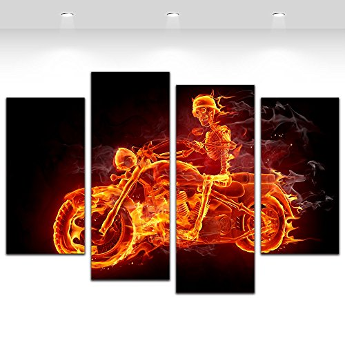 4 Panel Fire Skull Man Motorcycle Cool Wall Art Picture Canvas Print Bar Home Decoration Framed,Small Size 80cmX55cm,Ready to hang (Print Skull Framed Small)