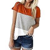 Women Short Sleeve Round Neck Triple Color Block Stripe T-Shirt Casual Blouse LIM&Shop Orange
