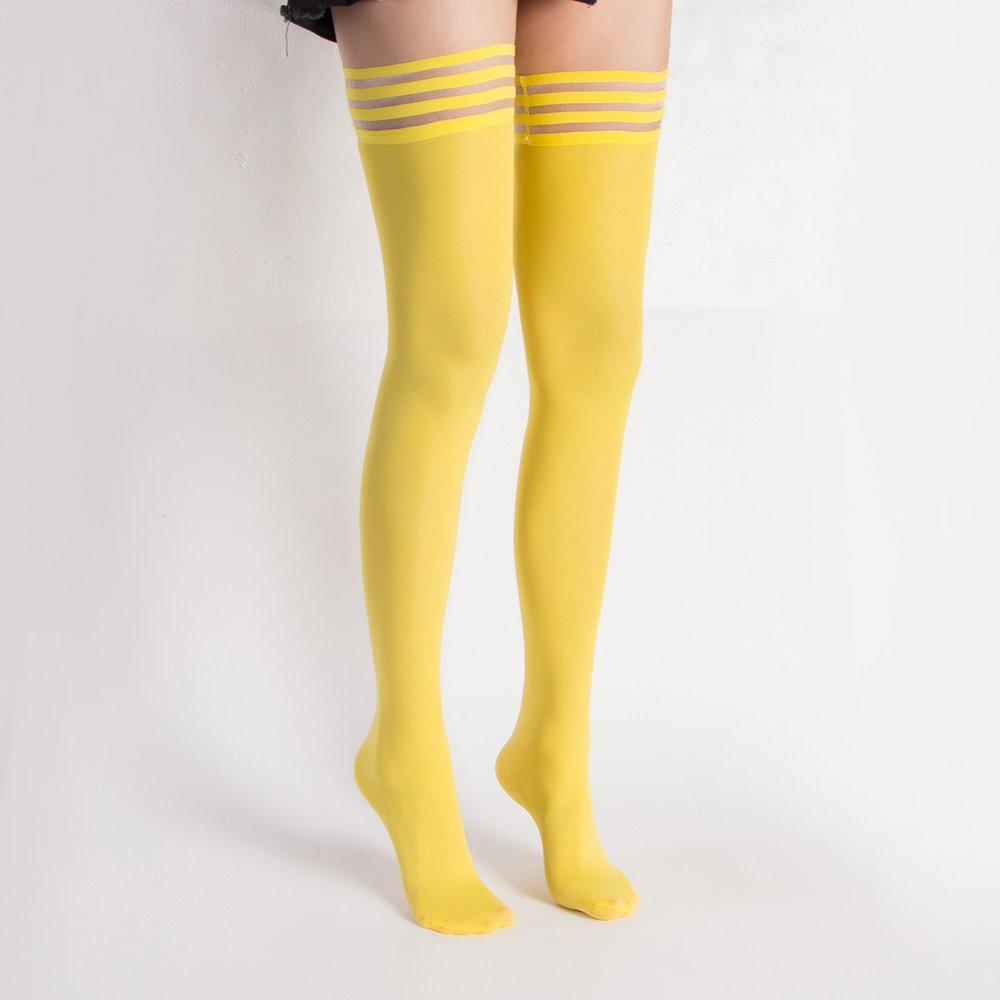 4 Pair Women's Antiskid Silicone Lace Top Opaque Thigh High StockingsBright yellowB by Eabern (Image #3)