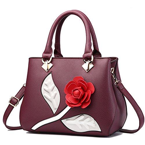 RUIREN Multifunktions Rosen-Blumen Form Weiche Lederne Handtaschen Tragbare Schulter Beutel für Frauen, Frauen Kurier Beutel Geldbeutel Schulter Handtasche für Frauen Dunkelviolett