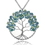Silver-Plated Zinc Tree of Life Crystal Glass Seed Beads Pendant Necklace, 30 inches