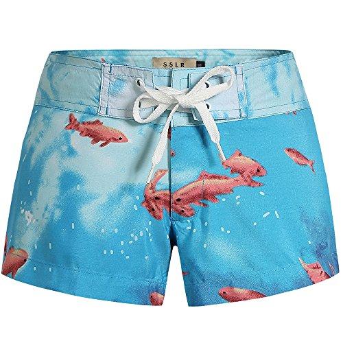 SSLR Women's Print Tropical Drawstring Casual Hawaiian Beach Board Shorts (30, Blue)