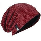 Men Oversize Beanie Slouch Skull Knit Large Baggy Cap Ski Hat B08 (Claret)