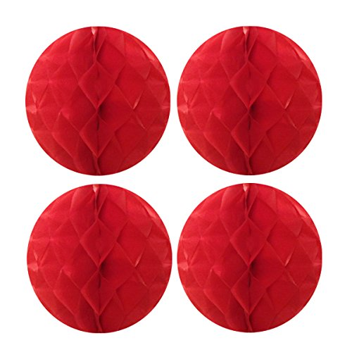 Wrapables Tissue Honeycomb Ball Party Decorations for Weddings, Birthday Parties, Baby Showers and Nursery Decor (Set of 4), 8, Red