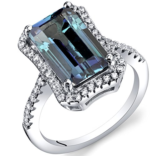 Peora 4.25 Carat Simulated Alexandrite Octagon Ring Sterling Silver Size 5