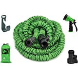 Garden Hose, 50 Feet, Strongest, Hose, Water Hose, Expandable Hose, Best Hoses, with Free 8-way Spray Nozzle, Rust-free, Watering Hose, Hanger and Shutoff Valve, By GrowGreen