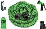 Garden Hose 50 Feet Strongest Hose Water Hose Expandable Hose Best Hoses with Free 8-way Spray Nozzle Rust-free Watering Hose Hanger and Shutoff Valve By GrowGreen