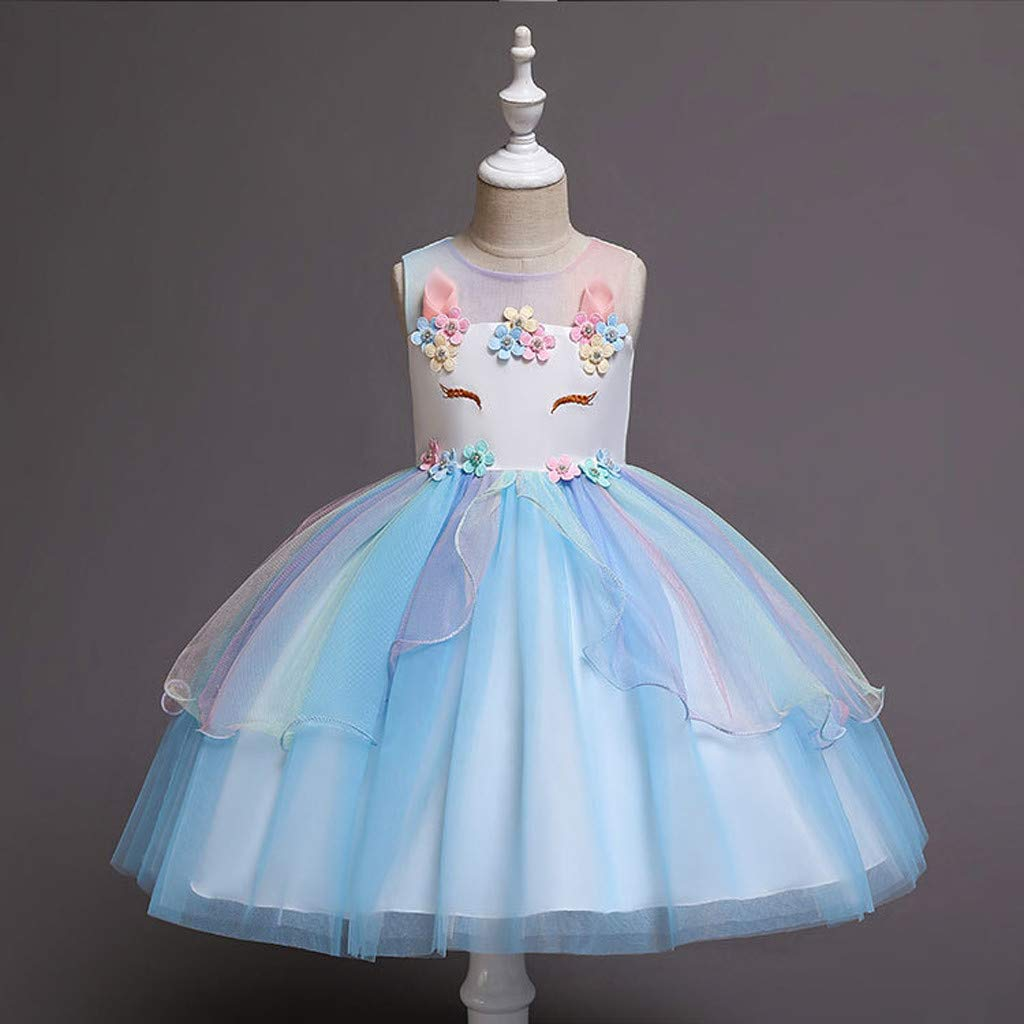 ❤️ Mealeaf ❤️ Toddler Kids Baby Girl Lace Sequins Tulle Party Pageant Wedding Princess Dresses(2-7 Years )