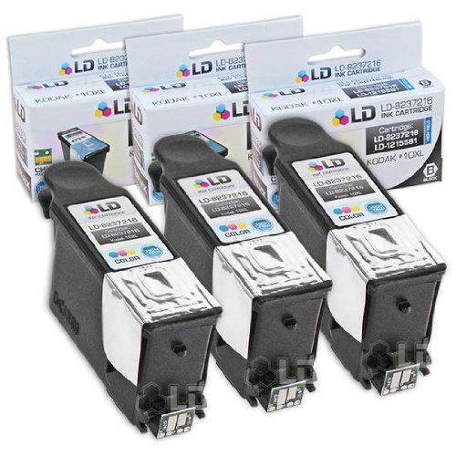 LD Kodak Compatible #10 Set of 3 Black 8237216 Cartridges for EasyShare 5100, 5300, 5500, ESP 3, ESP 3250, ESP 5, ESP 5210, ESP 5250, ESP 7, ESP 7250, ESP 9, ESP 9250, ESP 6150, Hero 7.1, 9.1, 6.1