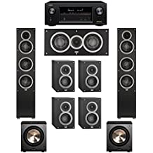 Elac 7.2 System with 2 Debut F5 Floorstanding Speakers, 1 Debut C5 Center Speaker, 4 Debut B4 Bookshelf Speakers, 2 BIC/Acoustech Platinum Series PL-200 Subwoofer, 1 Denon AVR-X2300W A/V Receiver