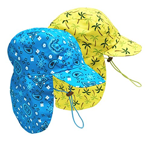 N'Ice Caps Baby Sun Block Breathable Adjustable Safari Beach Hat - 2 Pack (Neon Blue Bandana/Neon Yellow Palms, 50cm / 12-18mos)