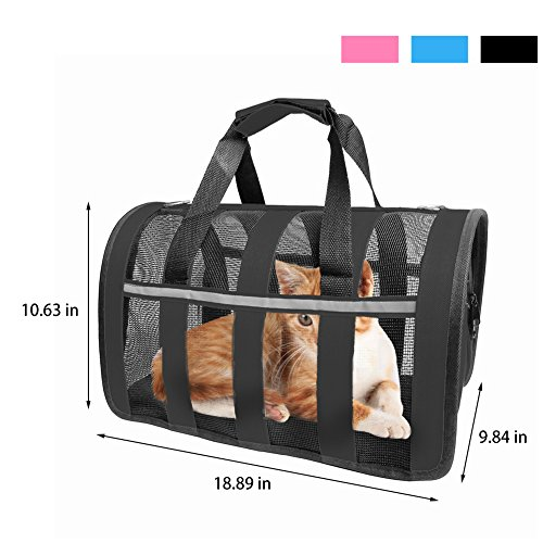 Airline Approved Pet Carrier,Breathable Portable Dog Bag Mesh Soft Sided Travel Handbag Foldable Design with Adjustable Detachable Shoulder Strap for Small Breed Dogs Cats Kittens and Puppies, Black For Sale