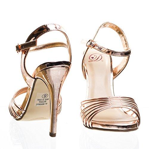 Cinturino In Gabbia Di Sandalo Con Laccio Metallico. Le Donne Sera Partito Scarpa Penny