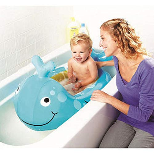 Inflatable Whale Baby Bath Travel Friendly Fast inflate time Soft tub Cushions for 6 to 30 Months Non-Slip Base