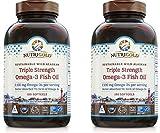 Nutrigold Wild Alaskan Triple Strength Omega-3 Fish Oil for Cardiovascular, Cognitive, Joint, Eye, Skin and Respiratory Health (180 Kosher/Halal Softgels) Pack of 2
