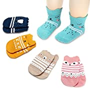 Lamamamas 5 Pairs Cartoon Animals Bear Fox Non Skid Anti Slip Cotton Baby Socks (Fox, 0-12months)
