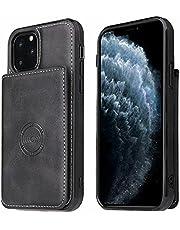 Molg Hoesje voor iphone 12 Mini PU-Leer Magnetische Portemonnee [Kaarthouder] [Magnetische Sluiting] met Autohouder Shock Proof Beschermhoesje-Zwart
