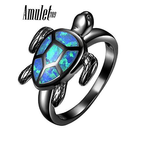 Unique Turtle Blue Fire Opal Animal Rings For Women Wedding Band Fashion Jewelry Vintage Black Gold (5)