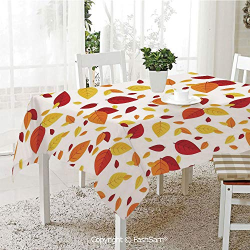 (AmaUncle Premium Waterproof Table Cover Colorful Fall Leaves On White Background Seasonal Design Modern Artwork Resistant Table Toppers (W60 xL84))