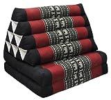 Thai triangular cushion with mattress 2 folds, black/red, relaxation, beach, pool, meditation garden (81602)
