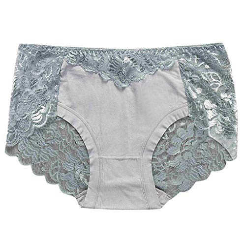 Pengy 3PC Underwear for Women Strings Lace Underwear Cotton Thong Briefs Soft Panties Hipster Ladies Set Gray