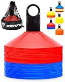 Pro Disc Cones (Set of 50) – Agility Soccer Cones with Carry Bag and Holder for Training, Football, Kids, Sports, Field Cone Markers – Includes Top 15 Drills eBook