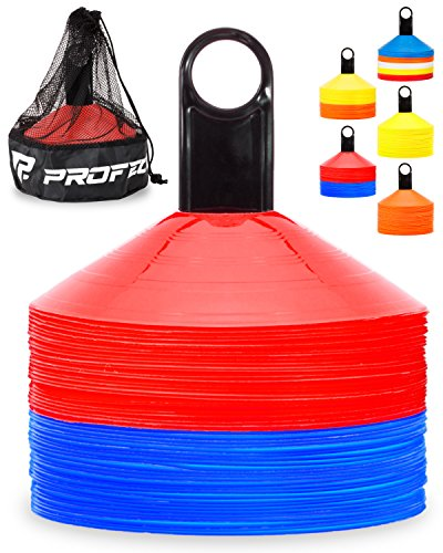 Pro Disc Cones (Set of 50) - Agility Soccer Cones with Carry Bag and Holder for Training, Football, Kids, Sports, Field Cone Markers - Includes Top 15 Drills eBook (Blue and Red)