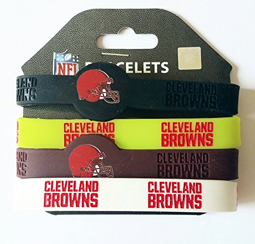 nfl-cleveland-browns-silicone-rubber-wrist-band-bracelet-charm-gift-set-of-4