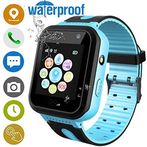 MeritSoar Kids Smart Watch Phone - LBS Tracker Smartwatch for 3-12 Year Old Boys Girls with SOS Camera Flashlight Touch Screen Game for Childrens Gift Holiday Learning Toys (S7-Blue)
