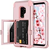 BENTOBEN Case for Galaxy S9 Plus with Card Holder and Mirror 3 in 1 Hard PC Soft Silicone Rubber Bumper Heavy Duty Shockproof Full Body Protective Cover for Samsung Galaxy S9 Plus, Rose Gold