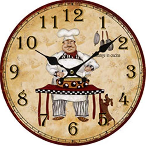 Moonluna Chef Rustic Wooden Wall Clock for Grandpa Grandma Farmhouse Bedroom Living Room 14 Inches