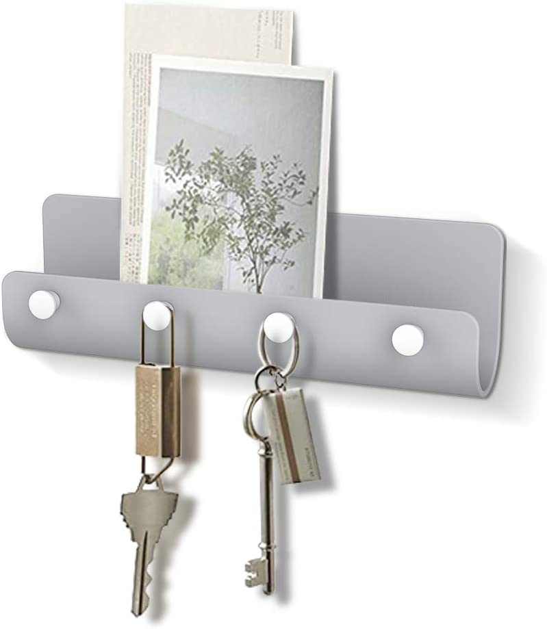 Adhesive Key Holder for Wall, Mail Organizer Wall Mount with 4 Key Hooks Minimalist Home Storage Key Organizer Rustic Home Decor Wall Key Rack Hanger for Entryway Mudroom Hallway Kitchen Office (Grey)