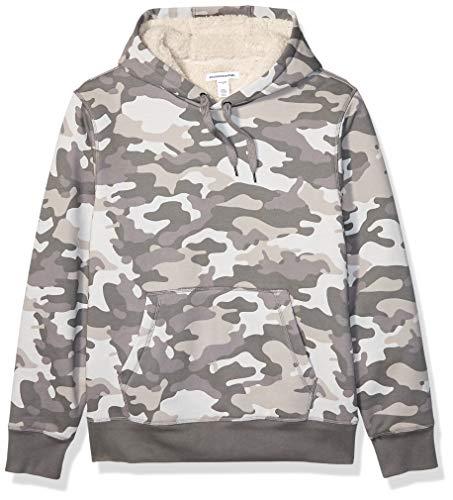 Amazon Essentials Men's Sherpa Lined Pullover Hoodie Sweatshirt, Grey Camo, X-Large