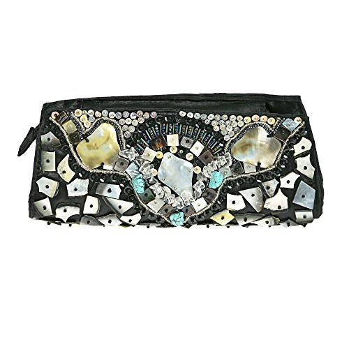 AeraVida Beautiful Handmade Natural Shell Mosaic Clutch Bag ()