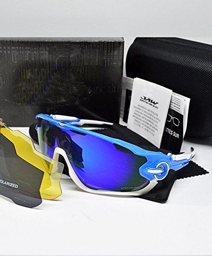2 UV400 gafas deporte gafas azul de nbsp;lentes con nbsp;gafas blanco hombre Sequins ciclismo Polarizadas Metal intercambiables Gafas bicicleta carretera Black with de de para de montaña protección hombres x6UqRRIC