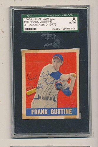 Print Autographed (1948 Leaf card #88 Frank Gustine Cubs short print signed - JSA Certified - MLB Autographed Baseball Cards)