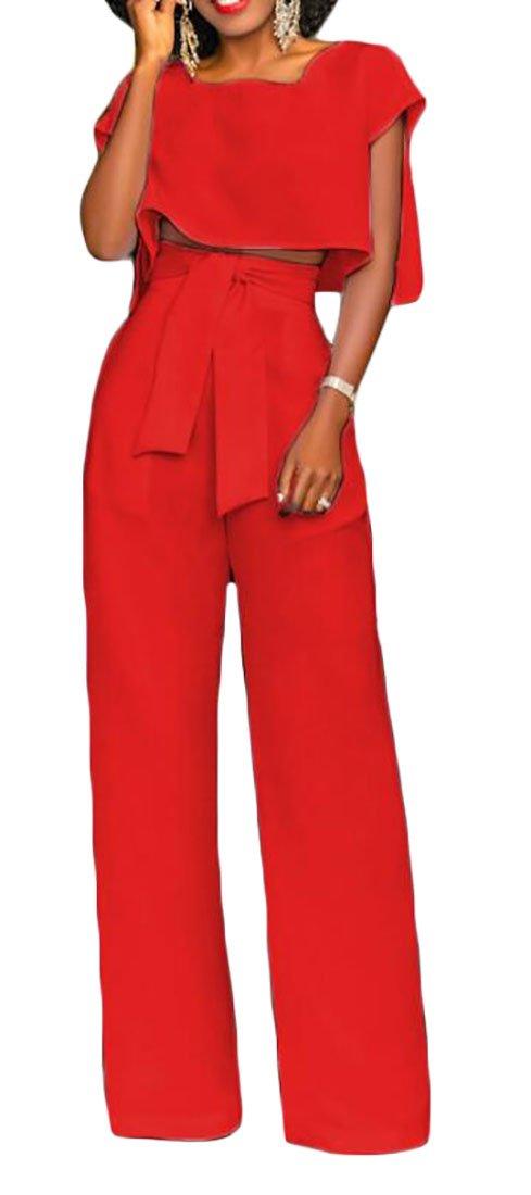 Etecredpow Womens Tie High Waist Wide Leg Solid Pants Casual Suit Sets