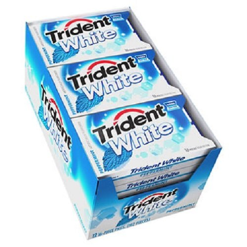 Trident Dual Pack Gum, White Peppermint, 16 Pieces, 12 Count