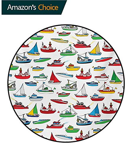 RUGSMAT Nautical Warm Soft Cotton Luxury Plush Baby Rugs,Bunch of Colorful Vessel Speedboat Fishing Trawler Motorboat Water Vehicle Concept Kids Teepee Tent Game Play House Round,Diameter-39 Inch