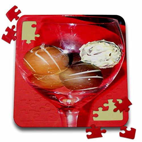 3dRose Sandy Mertens Chocolate Designs - Glass of Chocolate Truffles - 10x10 Inch Puzzle (pzl_6013_2) ()