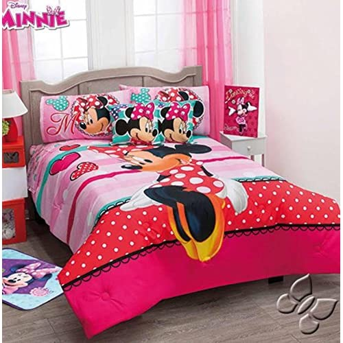 Discount JORGE'S HOME FASHION INC NEW PRETTY COLLECTION DISNEY MINNIE MOUSE LOVE KIDS GIRLS ORIGINAL LICENSE COMFORTER SET 7 PCS QUEEN SIZE for sale