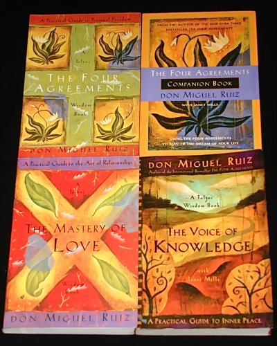 4 Titles By Don Miguel Ruiz: 'The Four Agreements,' 'The Four Agreements Companion Book,' 'The Master of Love,' 'The Voice of Knowledge.'
