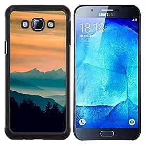 LECELL--Funda protectora / Cubierta / Piel For Samsung Galaxy A8 A8000 -- Sunset Montañas --