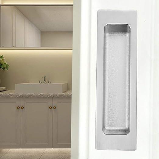 Tirador Empotrado for Puerta corredera Tirador Oculto de aleación de Zinc Tirador de Puerta Rectangular Simple Negro 140 mm x 40 mm (Color : Silver): Amazon.es: Hogar