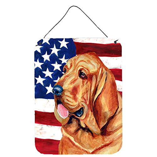 Caroline's Treasures USA American Flag with Bloodhound Aluminium Metal Wall or Door Hanging Prints, 16