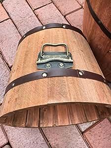 Macetero Madera Barril de vino Barril Macetero Macetero barriles estilo vintage–Precioso macetas redondo en tamaños o como Juego de 3